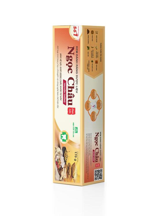 Mặt chéo hộp kem đánh răng dược liệu Ngọc Châu